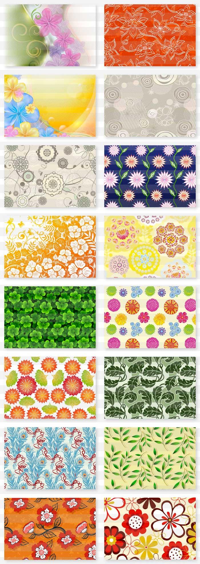 花柄・葉っぱ柄のテクスチャ・テンプレート背景|イラストレーター素材