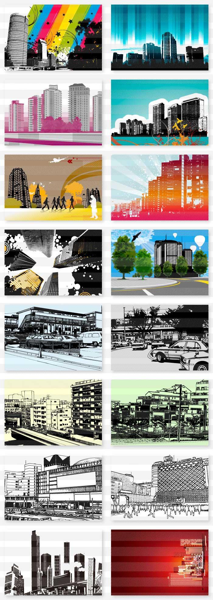 都市街並みのイラスト1|イラストレーター素材(ai・eps・商用可能)