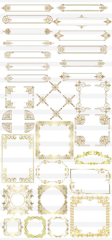 金色の豪華な高級フレーム枠 イラストレーター素材(ai・eps・商用可能)