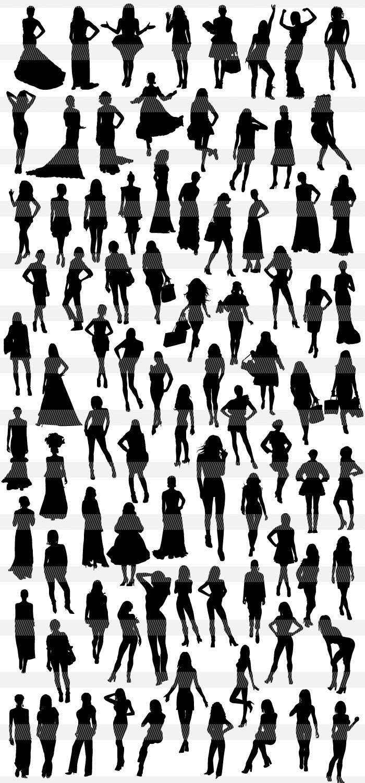 お洒落なワンピース女性のシルエット|イラストレーター素材(ai・eps