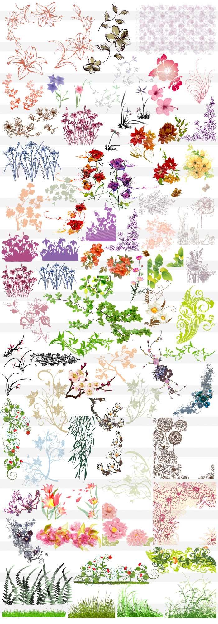 花・草木のシルエット背景素材