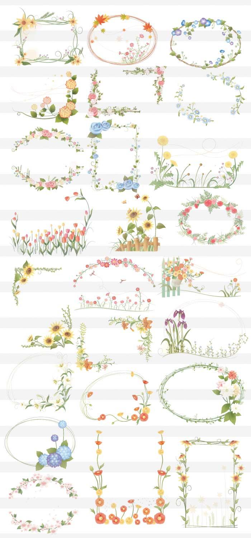 花のフレーム枠素材|イラストレーター素材(ai・eps・商用可能)