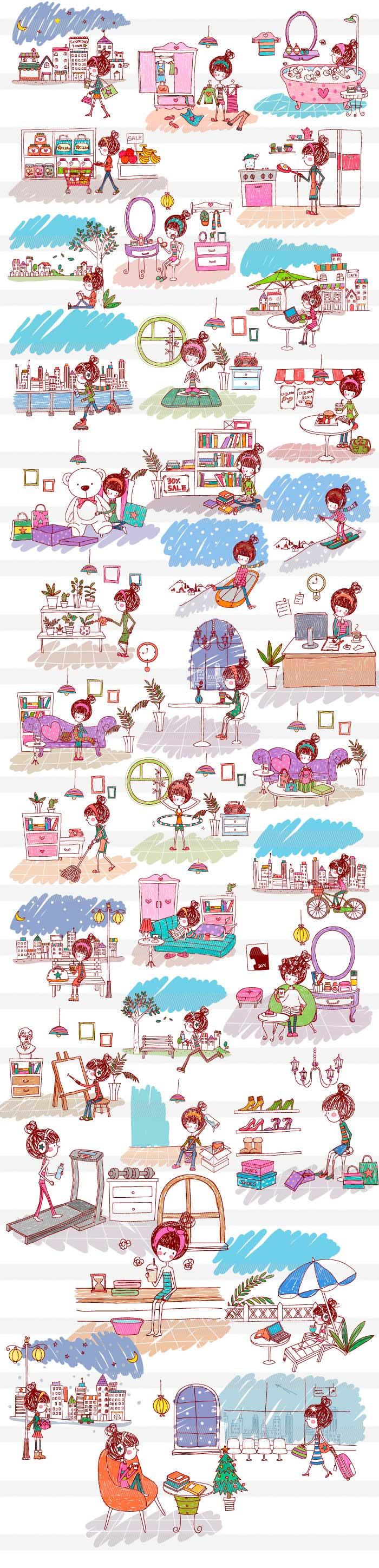 女の子の日常生活|イラストレーター素材(ai・eps・商用可能)