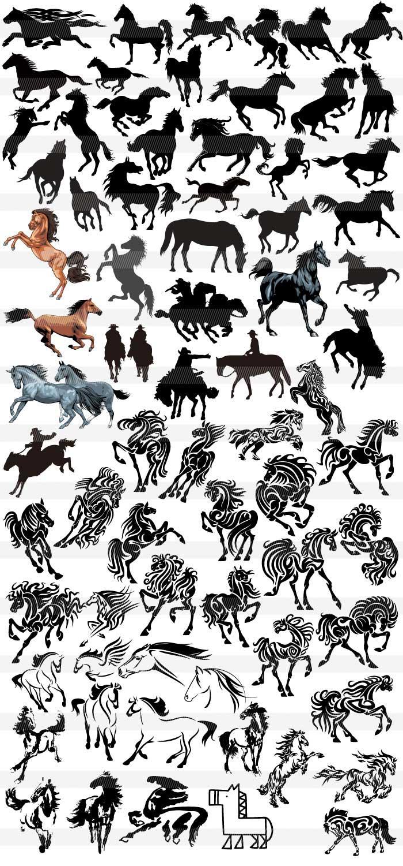 かっこいい馬のシルエット・アイコン|イラストレーター素材(ai・eps
