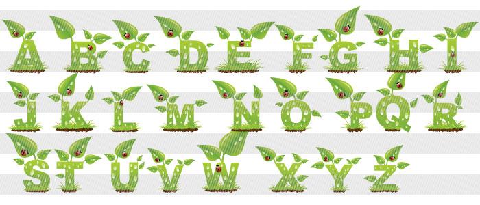 花柄・植物のアルファベット ...