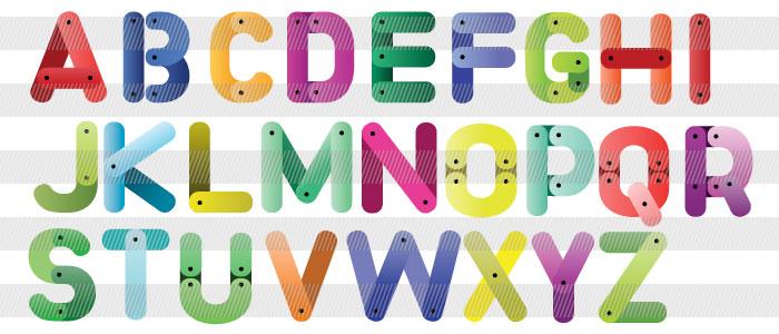 カラフルなアルファベットイラストレーター素材aieps商用可能