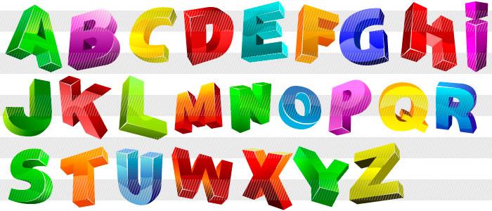 立体的アルファベットイラストレーター素材aieps商用可能