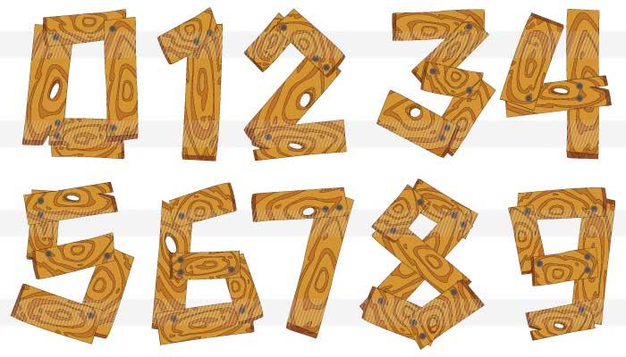 漫画風の木の板で作った数字