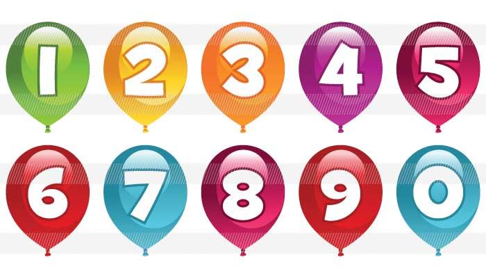 グローバルフォント フォント飾り : 風船の中にある可愛い数字 ...