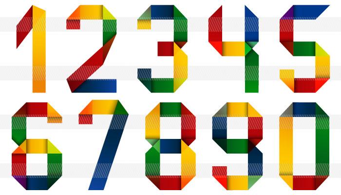 すべての折り紙 数字 折り紙 : ... のパステル調の数字0123456789