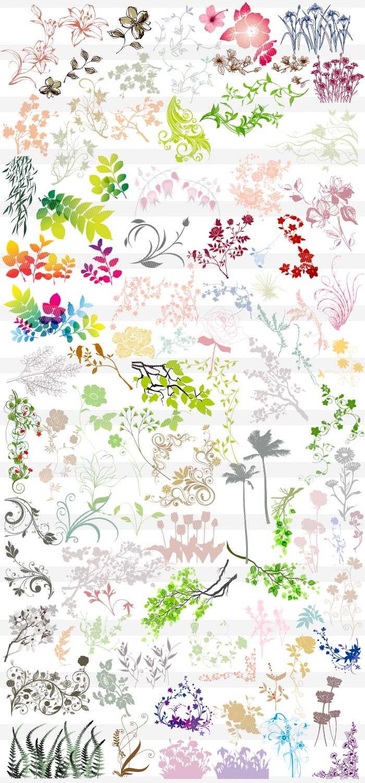 花・草木のシルエット