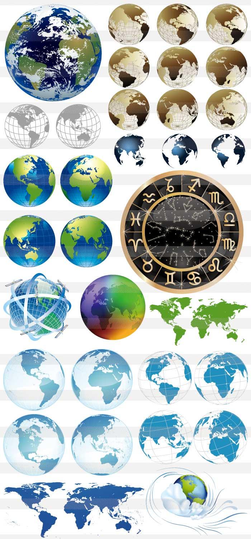 <br />地球・星座マーク・世界地図