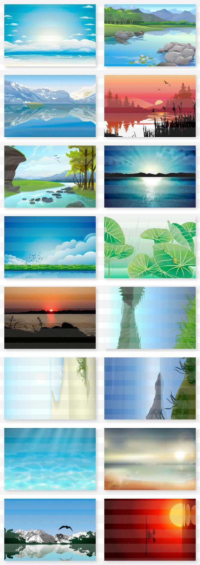 海・山・空・夕暮れの風景の背景素材