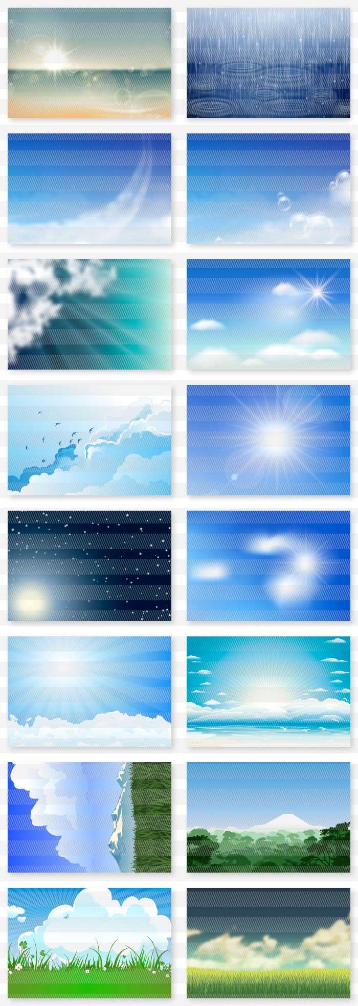 海・山・空・夕暮れの風景の背景素材|イラストレーター素材(ai・eps