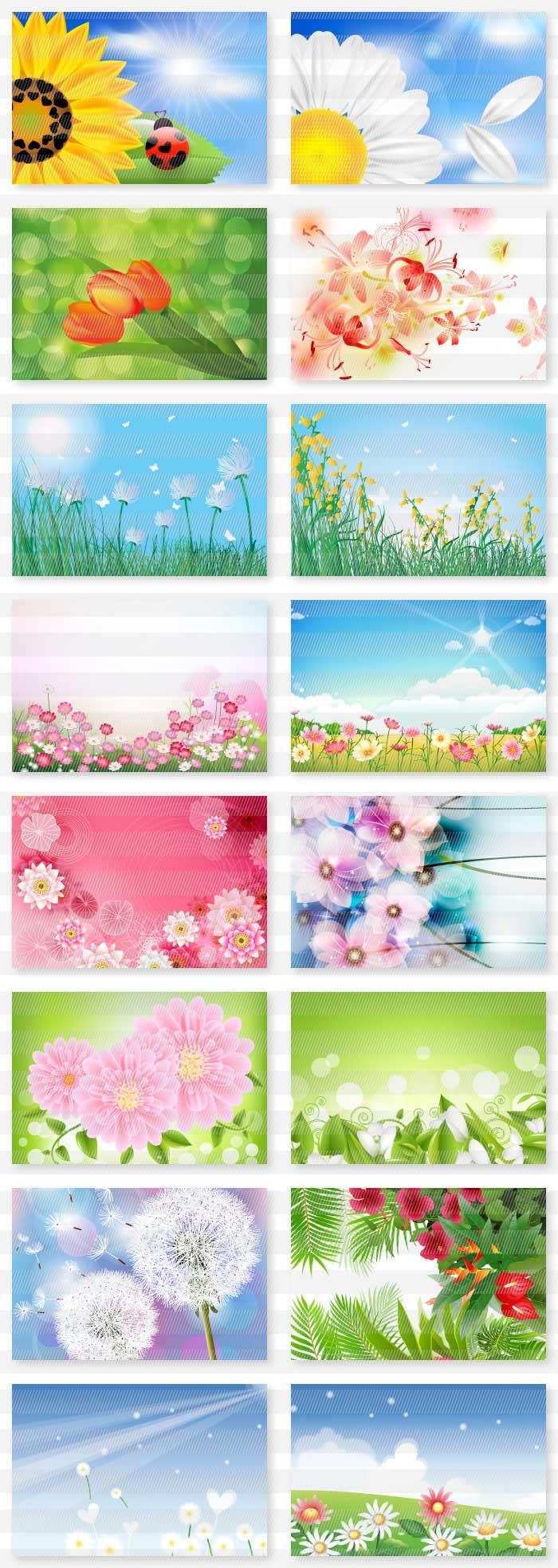 花の風景の背景素材|イラストレーター素材(ai・eps・商用可能)