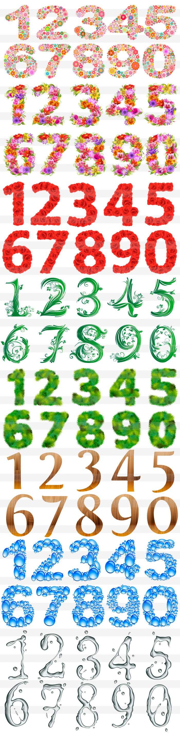 草木・花柄の数字のイラスト