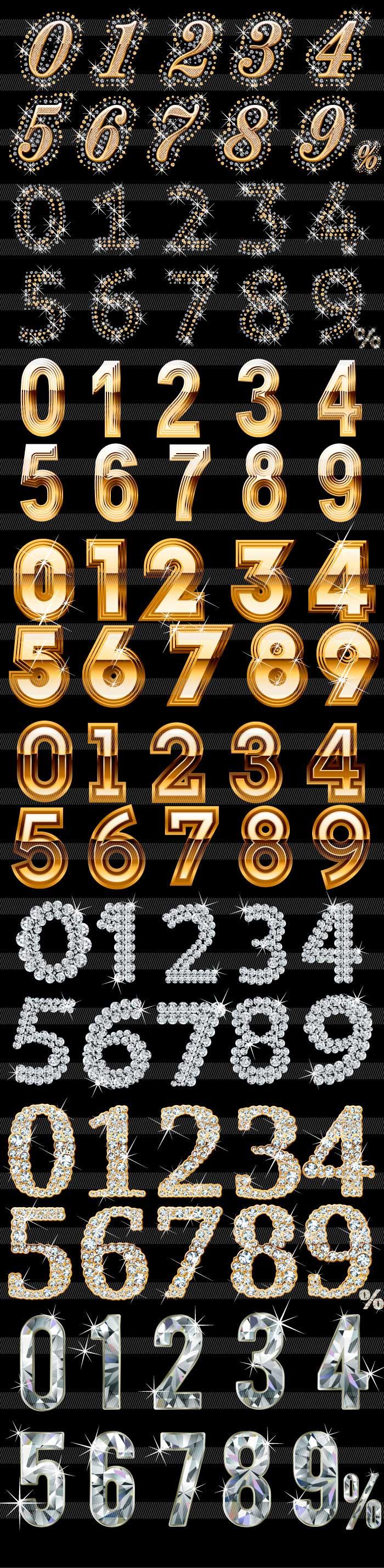 豪華・ダイヤの数字のイラスト