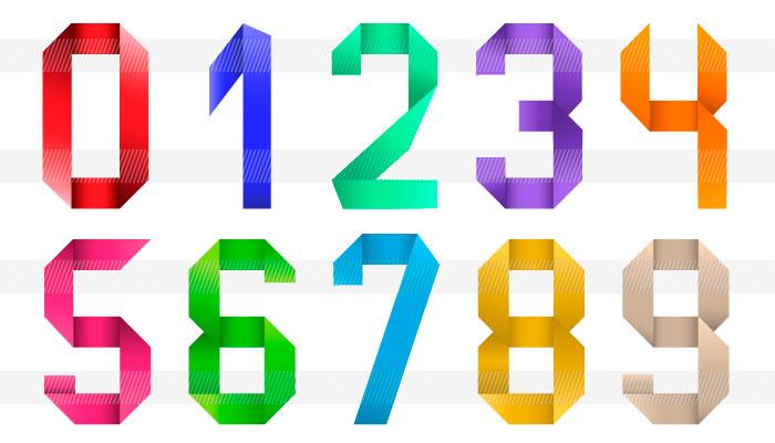 すべての折り紙 折り紙ブロック : 色々な数字のイラスト|商用OK ...