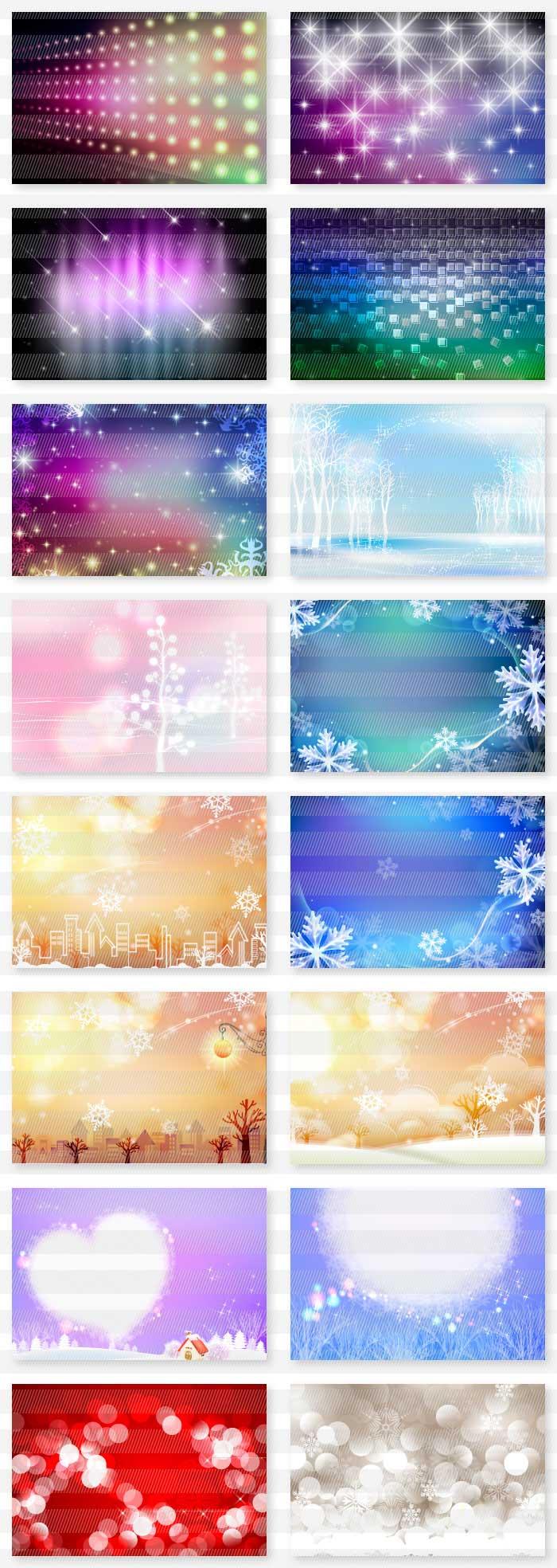 冬・雪のイラストはがき|イラストレーター素材(ai・eps・商用可能)