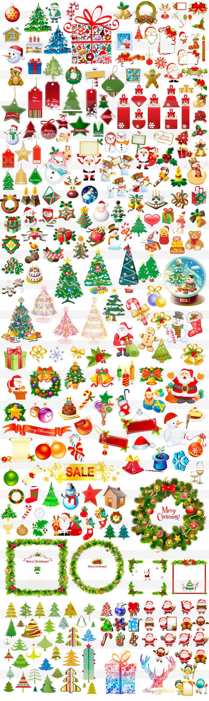 クリスマスツリー・サンタのイラスト