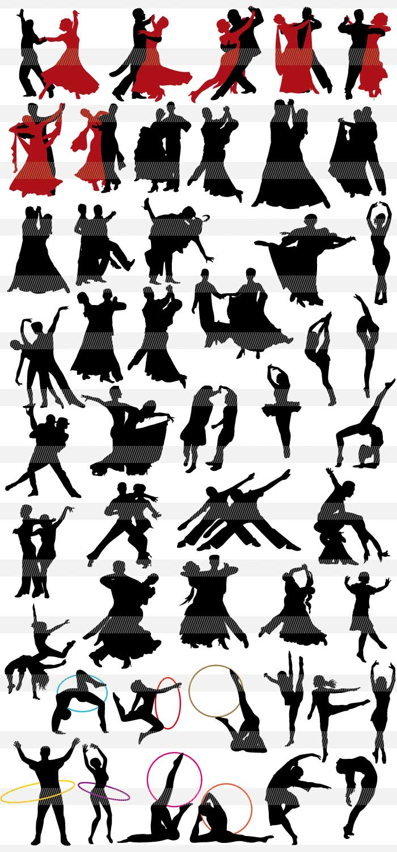ヨガストレッチバレエ社交ダンスのシルエットイラストレーター