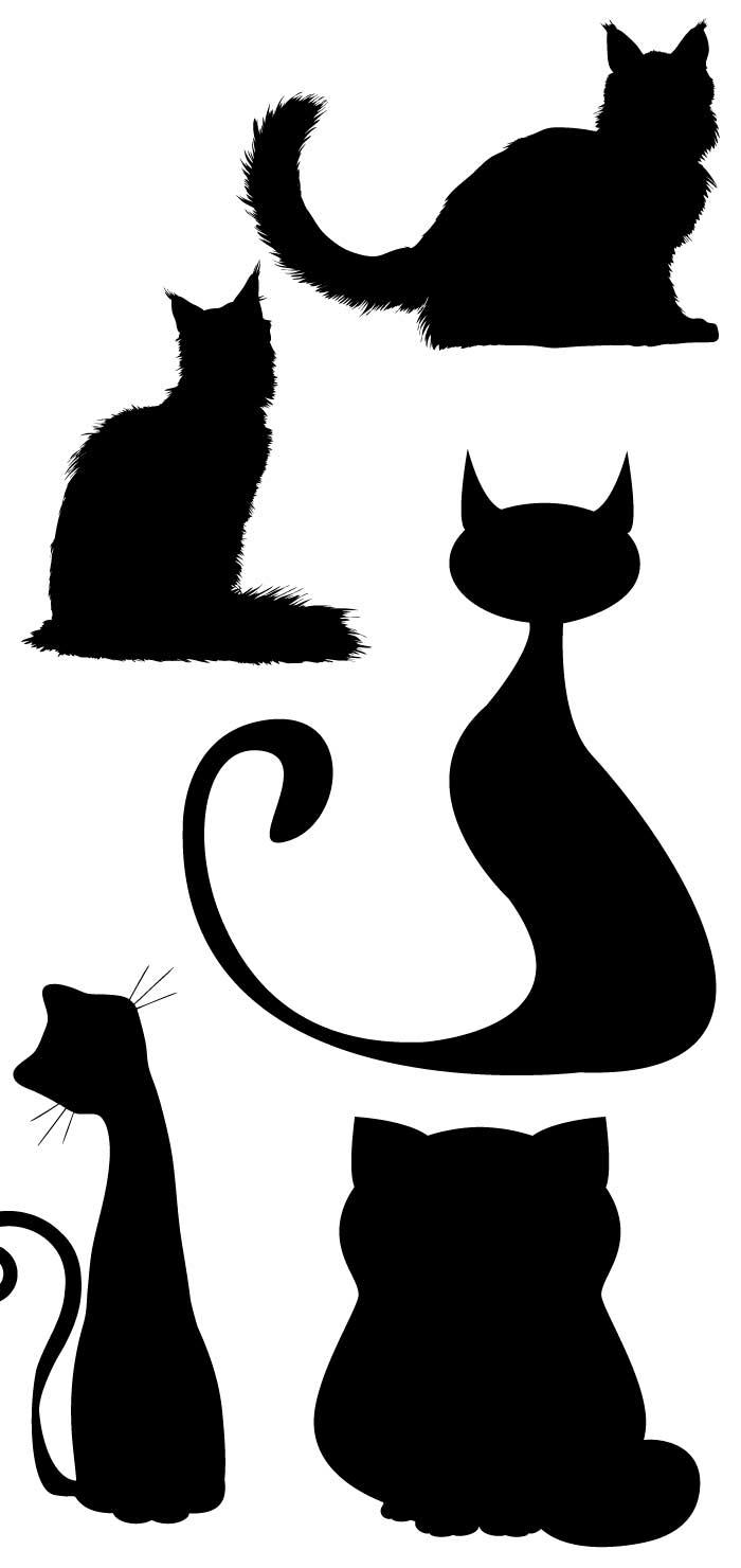 猫のシルエットの無料イラスト|イラストレーター素材(ai・eps・商用可能)
