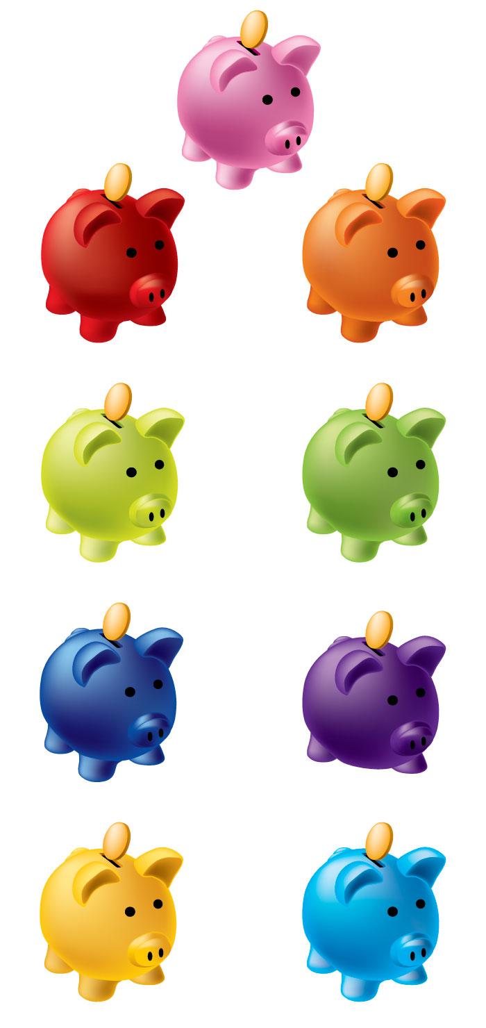 かわいい豚の貯金箱の無料イラスト|イラストレーター素材(ai・eps
