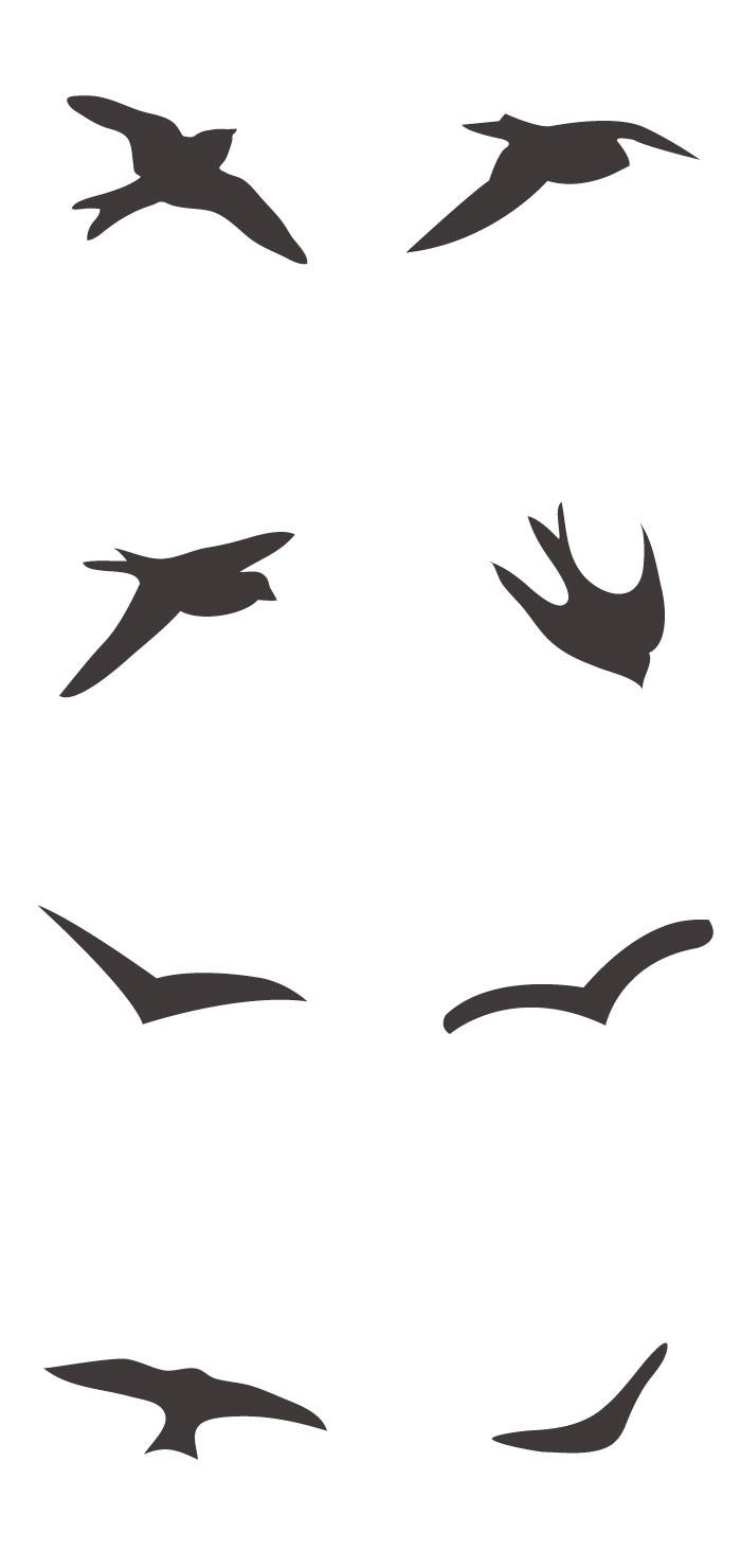 鳥のシルエットの無料イラスト|イラストレーター素材(ai・eps・商用可能)