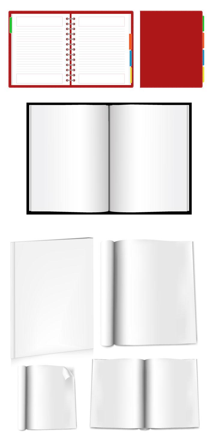 開いた本・手帳の無料イラスト|イラストレーター素材(ai・eps・商用可能)