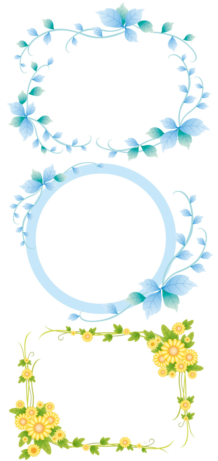 花や葉っぱのフレーム枠素材の無料イラストイラストレーター素材ai