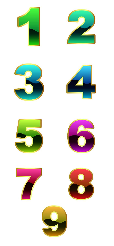 カラフルな数字の無料イラスト|イラストレーター素材(ai・eps・商用可能)