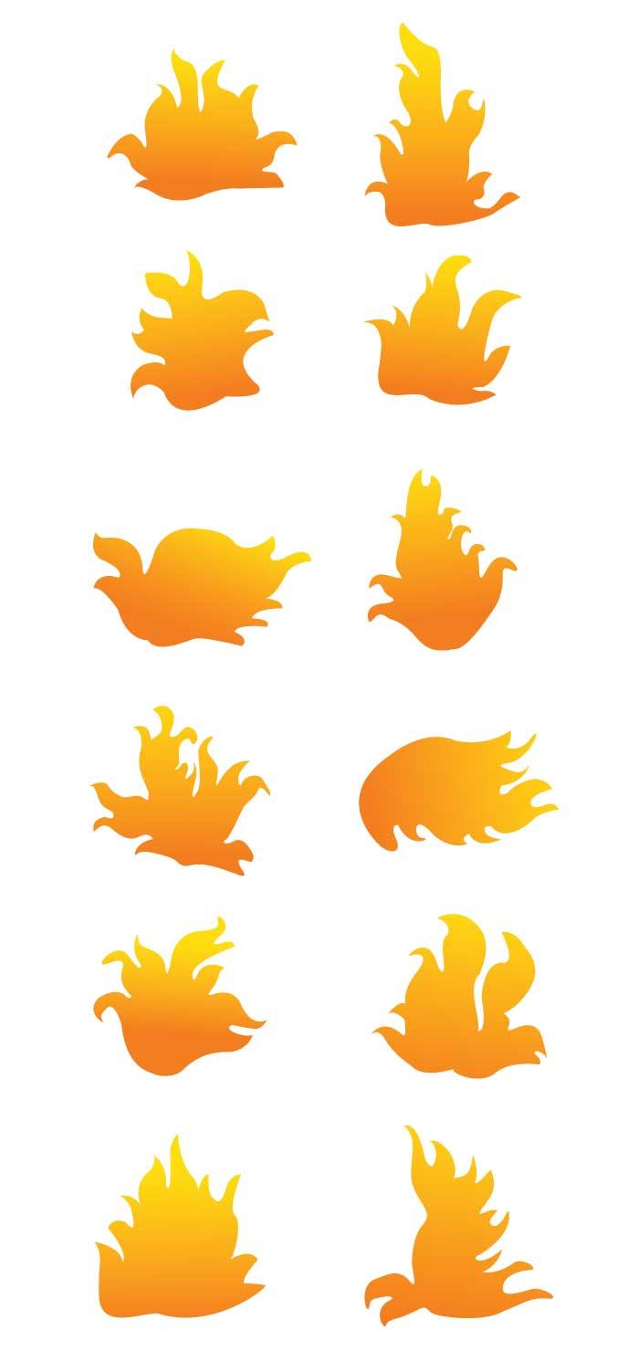 火炎のシルエットの無料イラストイラストレーター素材aieps商用
