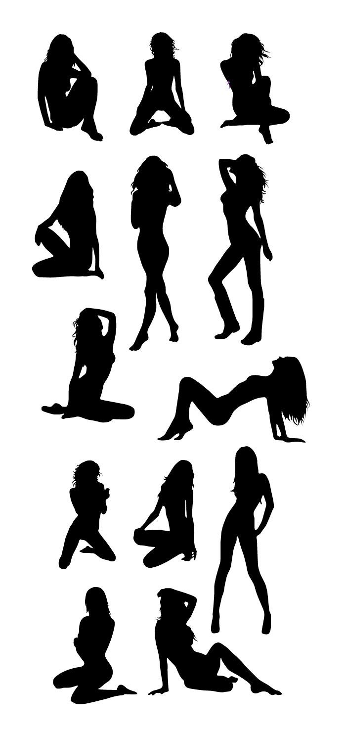 セクシーな女性のシルエットの無料イラスト イラストレーター素材(ai