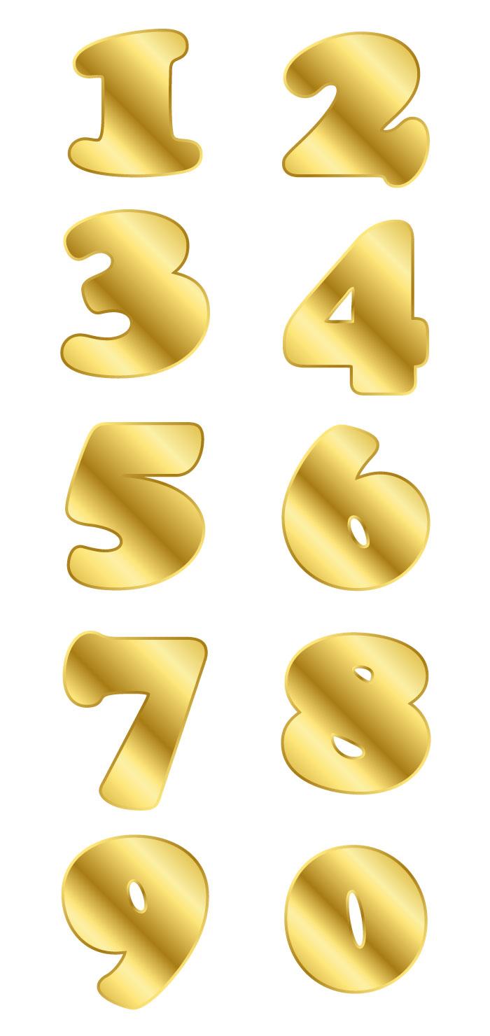 金色の目立つ数字の無料イラスト イラストレーター素材(ai・eps・商用可能)
