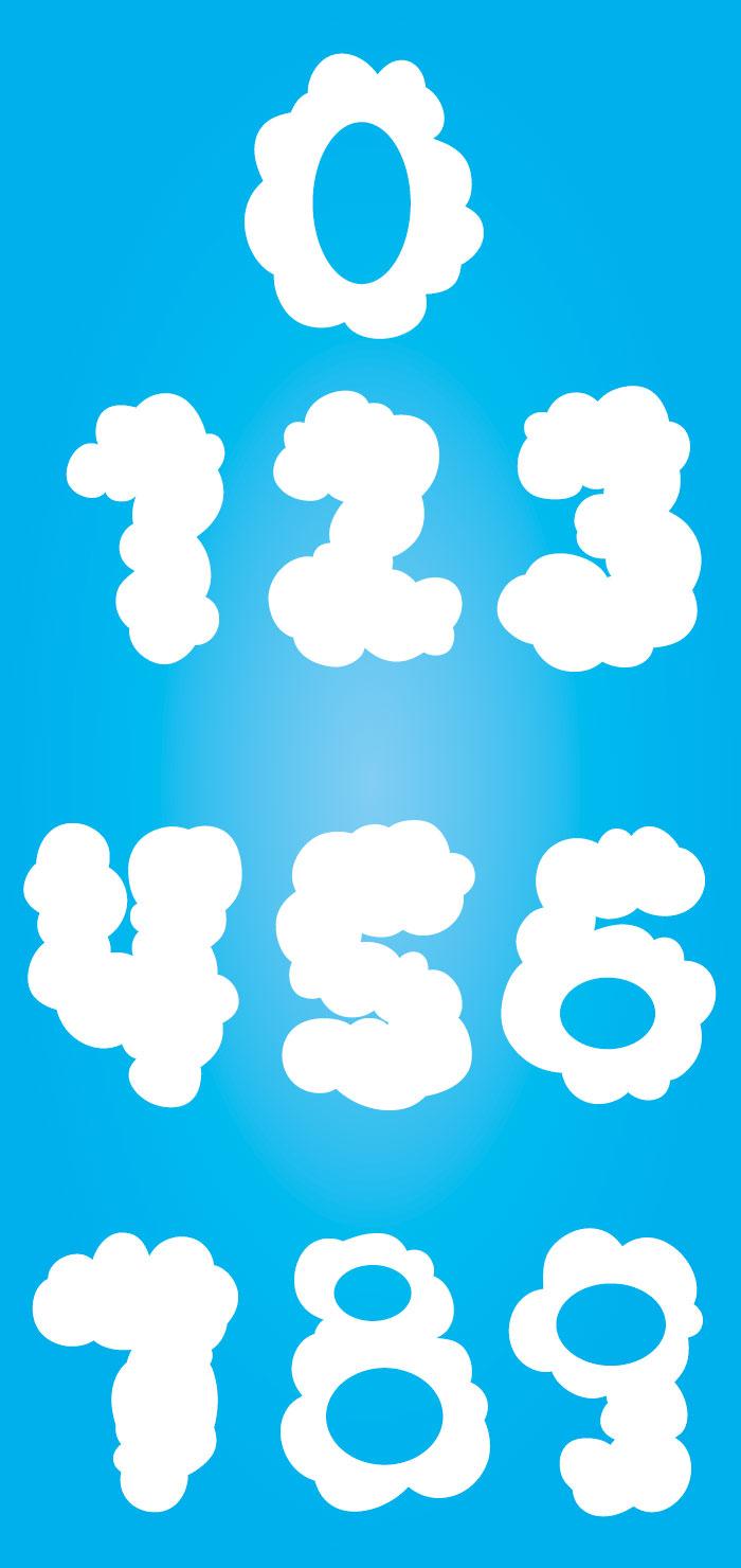 雲のイメージの数字の無料イラスト イラストレーター素材(ai・eps・商用