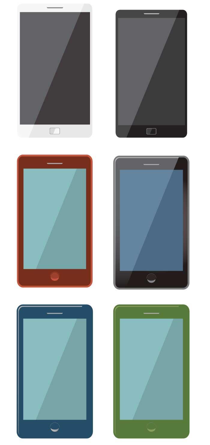 スマートフォンの無料イラスト|イラストレーター素材(ai・eps・商用可能)
