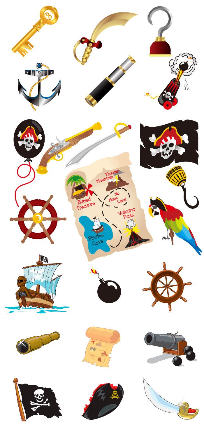 海賊の道具の無料イラスト|イラストレーター素材(ai・eps・商用可能)