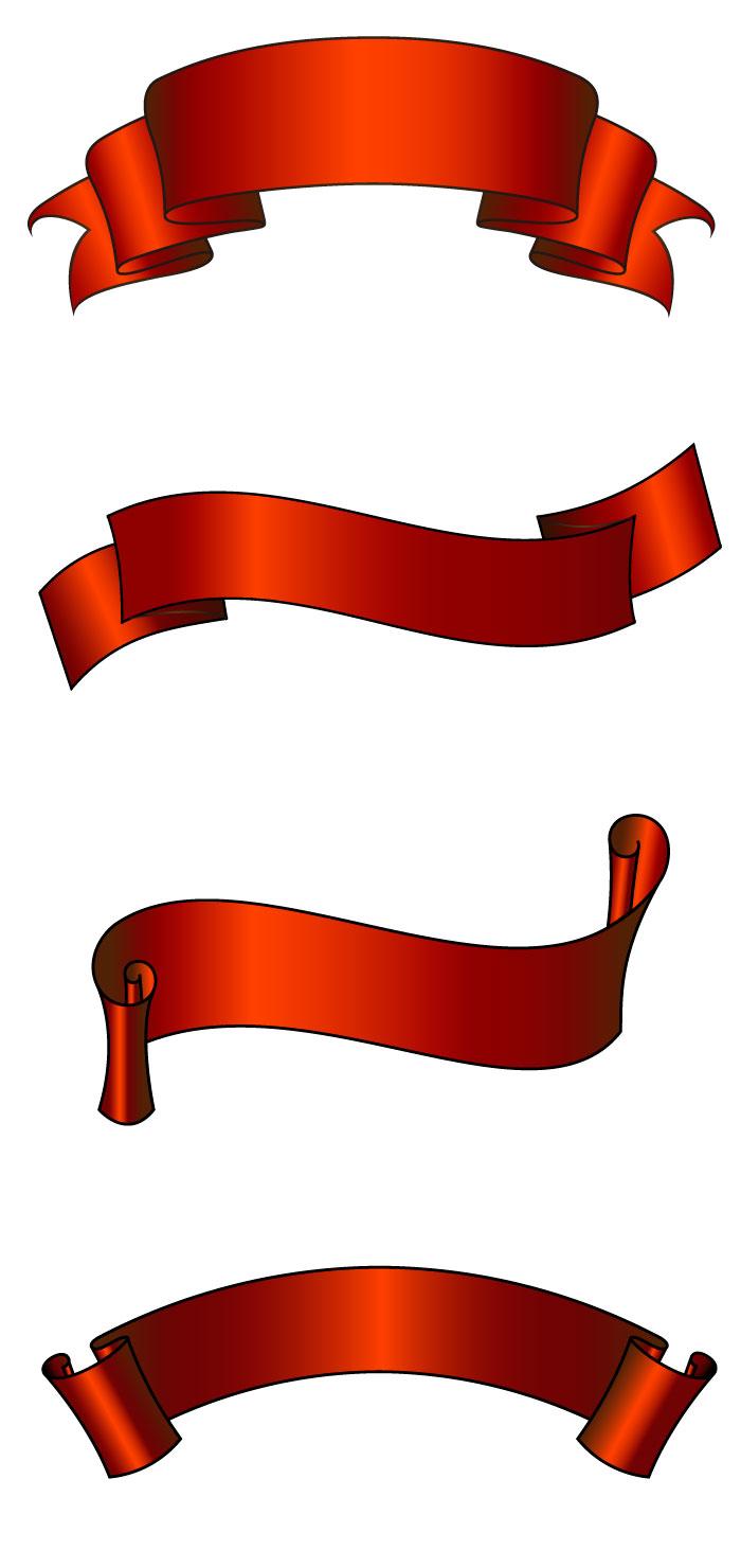 手書き風の帯リボンの無料イラストイラストレーター素材aieps商用