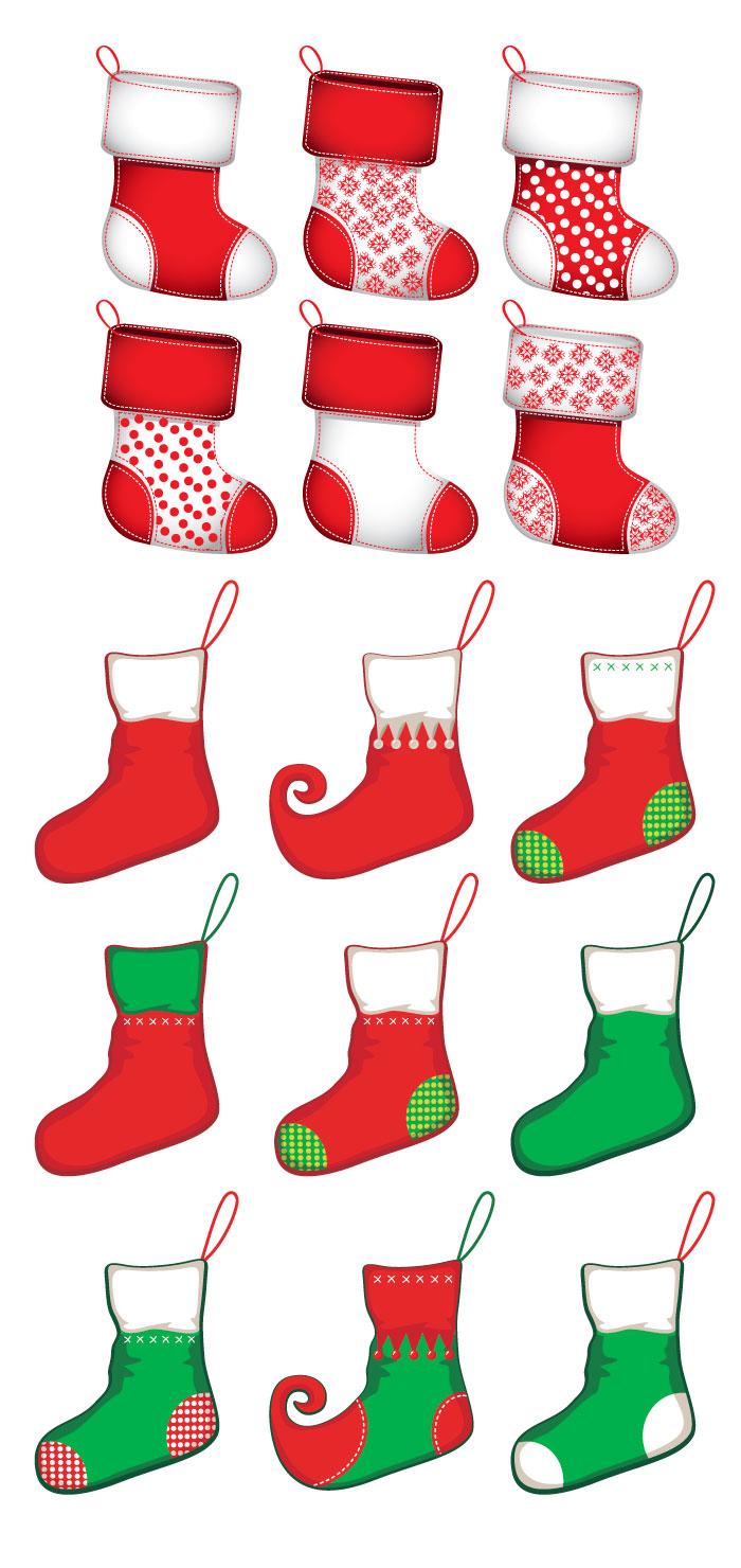 クリスマスの靴下の無料イラスト