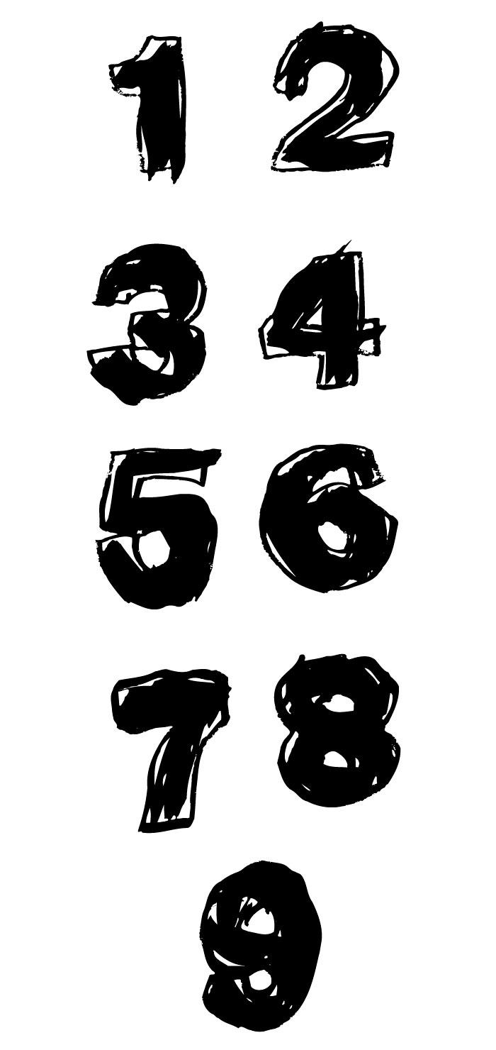 手描きのヘタウマ数字の無料イラスト イラストレーター素材(ai・eps