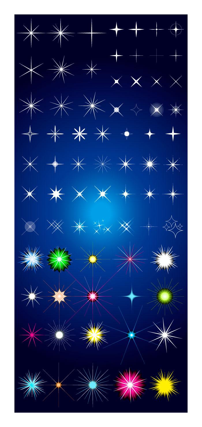 キラキラ星マークの無料イラストイラストレーター素材aieps商用可能