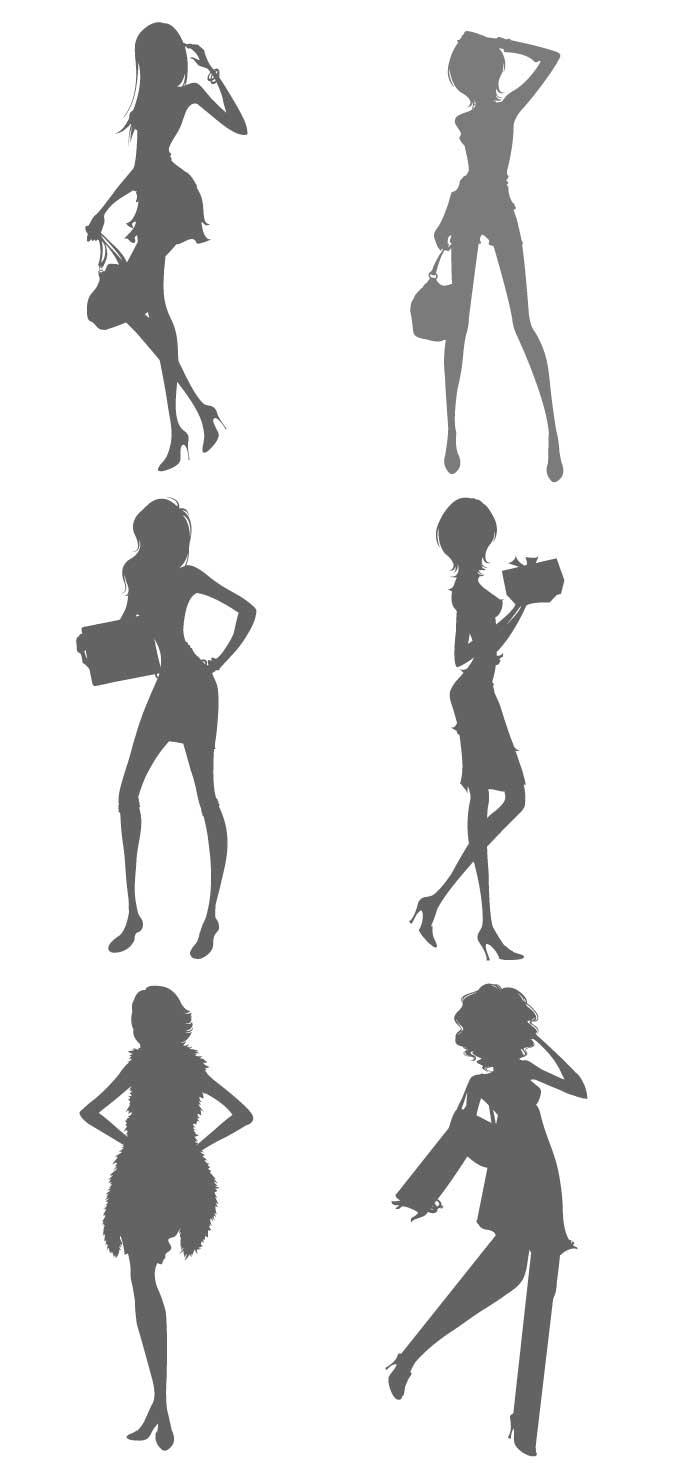 ハイヒールの女性シルエットの無料イラスト|イラストレーター素材(ai