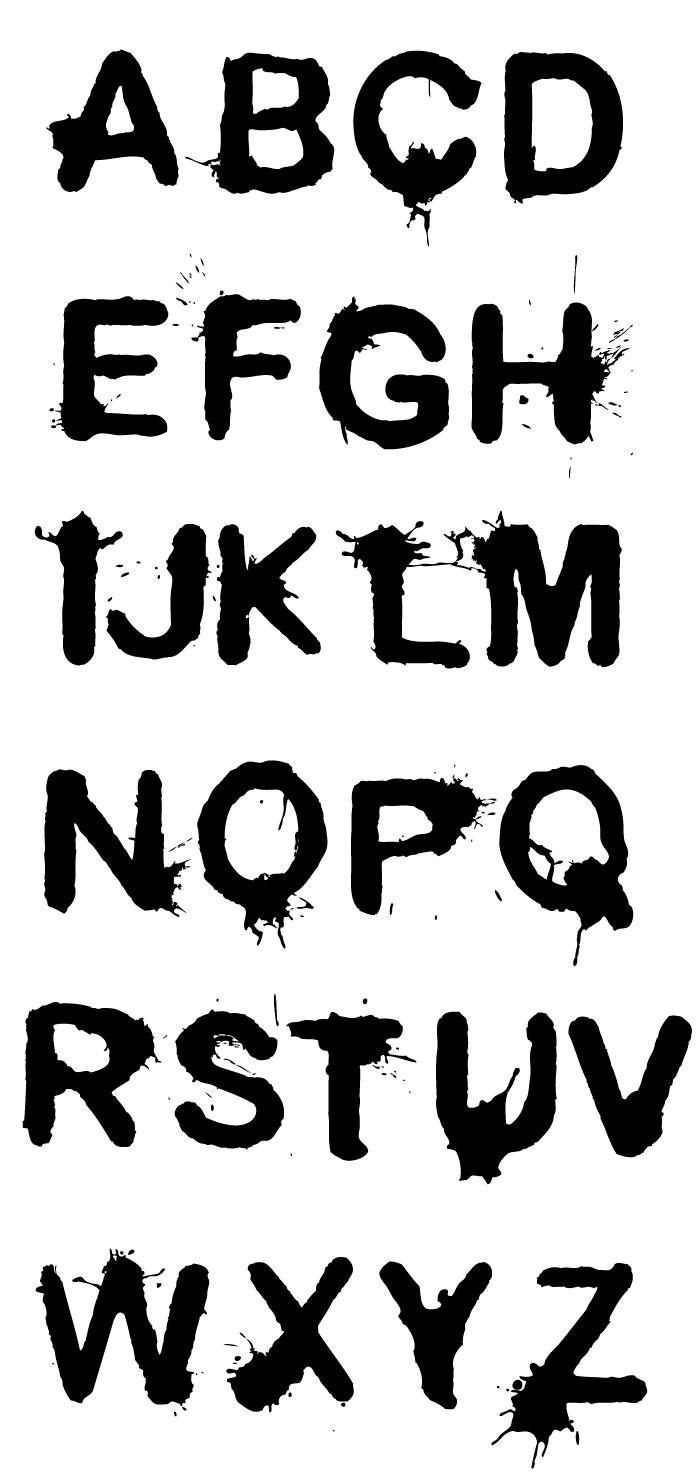 墨・インクのローマ字の無料イラスト|イラストレーター素材(ai・eps
