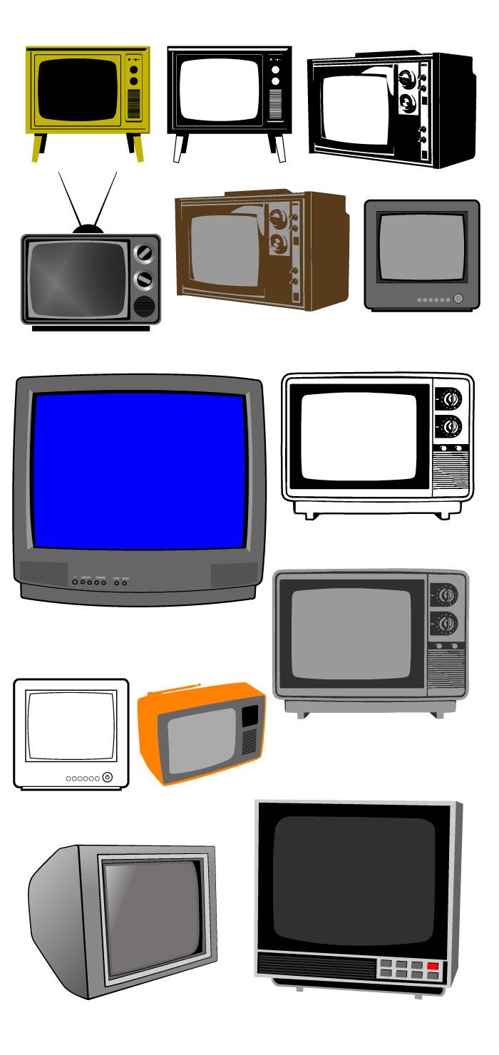ブラウン管テレビの無料イラスト|イラストレーター素材(ai・eps・商用可能)