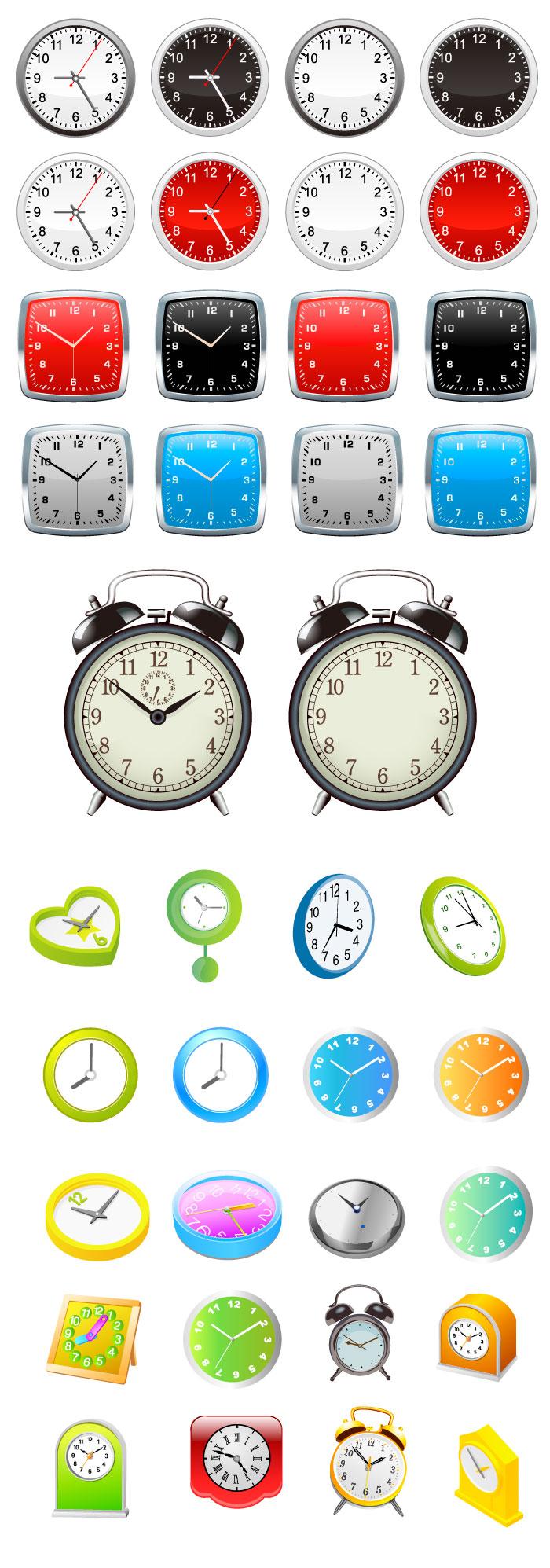 針なし・ありの時計の無料イラスト|イラストレーター素材(ai・eps・商用